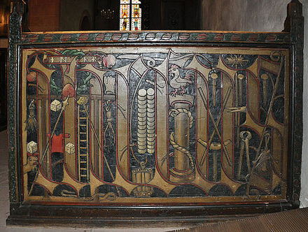 Arma Christi on Pew Back, Church of St. Valentine (completed in 1493), Kiedrich, Germany