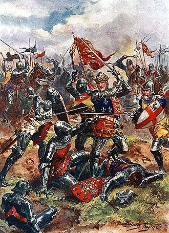 Battle of Agincourt - 1915 depiction of Henry V at the Battle of Agincourt : The King wears on this surcoat the Royal Arms of England, quartered with the Fleur de Lys of France as a symbol of his claim to the throne of France.