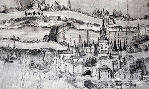 Afbeelding van het Klooster 'Emmaus' door Pieter Dirksz Crabeth uit 1520 (Links het klooster, linksboven Haastrecht, midden de Haastrechtse brug over de Hollandse IJssel en rechts Gouda)