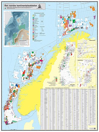 Norwegian continental shelf - The Norwegian continental shelf as of June 20th, 2016. It shows all fields, discoveries, areas awarded and areas that have been opened for exploration activities