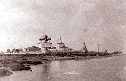 View of the Nikolo-Korelsky Monastery in the early 20th century Korelski.jpg