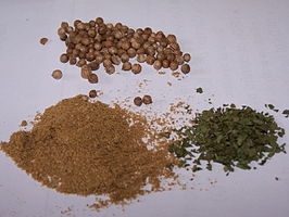 Koriander, bladeren(gedroogd), vruchten en ketoembar