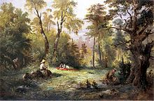 Illustration To Book III Of Pan Tadeusz By Adam Mickiewicz Picking Mushrooms Painting Franciszek Kostrzewski Ca 1860