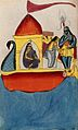 Krishna steering a peacock-headed boat carrying five women. Wellcome V0045166.jpg