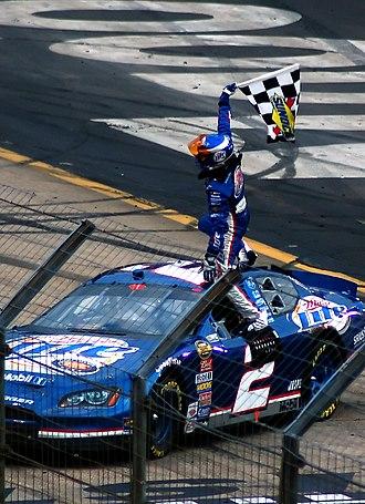 Kurt Busch - Busch celebrating after winning the 2006 Food City 500.