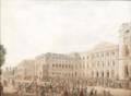 L'arrivée de Louis-Philippe accompagné de sa fille destinée à épouser le premier roi des Belges devant le Parlement de Bruxelles.png