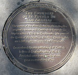 Los Angeles Pobladores - Names of Los Pobladores on plaque