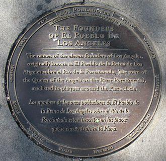 Los Angeles Pobladores - Names of Los Pobladores on plaque