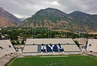 "LaVell Edwards Stadium - ""BYU"" seats of east grandstand and Y Mountain"