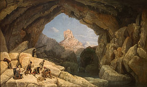 Outlaw (stock character) - La cueva del Gato (The cave of the Cat), 1860 painting by Manuel Barrón y Carrillo depicting the hideout of the Andalusian bandolero of Spain