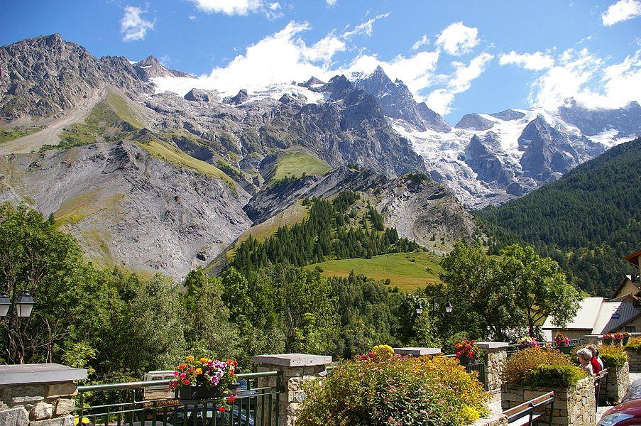 View on La Meije mountain range from La Grave