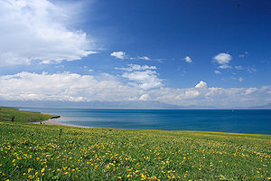 Sayram Lake - Image: Lake Sailimu, aka Sayram