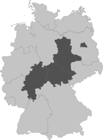 Central Germany (geography) - Landlocked German states without external borders