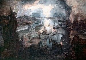Landschaft mit Segelschiffen und einer brennenden Stadt.jpg