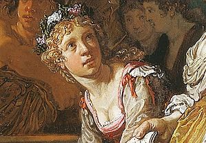 Lastman, Pieter - De offerstrijd tussen Orestes en Pylades - Detail flower dropping women.jpg