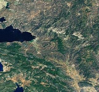 landsat-Aufnahme der Beşparmak Dağları und des Bafa-Sees