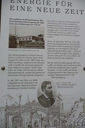 History of electric power transmission - The 175 km line built by Oskar von Miller in 1891 in Germany