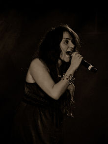 Black and White image of Laura White singing