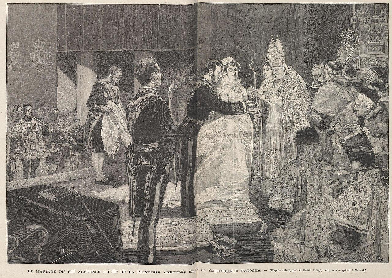 Le mariage du roi Alphonse XII et de la princesse Mercédés dans la cathédrale d'Atocha, de Vierge.jpg