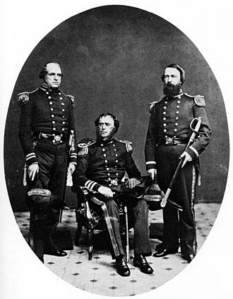 David Dixon Porter - Porter, on the right, in 1860. The other officers are Sidney Smith Lee and Samuel F. Du Pont.