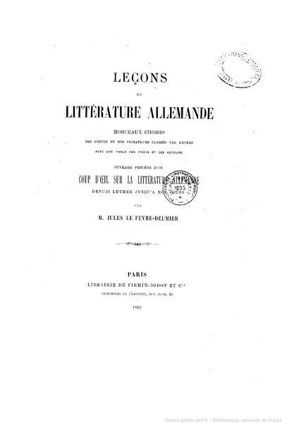File:Lefèvre-Deumier - Leçons de littérature allemande, 1893.djvu