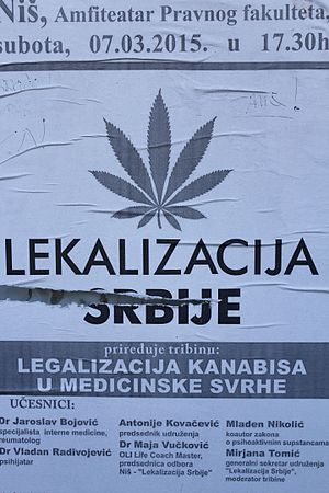 Legality of cannabis - Pro-Legalization Poster in Belgrade, Serbia