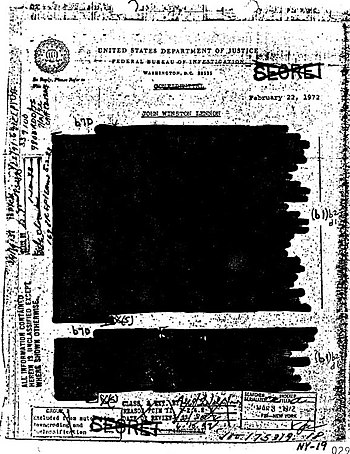 Document with text almost all blacked out, dated 1972.