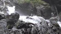 File:Liechtensteinklamm Gorge in Austria with a Waterfall and Rainbow.webm