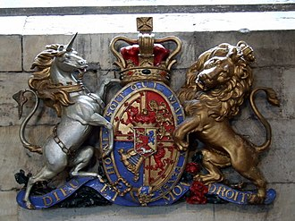 Royal coat of arms of the United Kingdom - At St Michael's Parish Church, Linlithgow, Scotland: a Scottish version of the royal arms of the Hanoverians as used from 1801 to 1816.