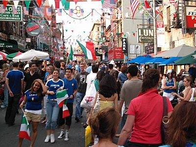 Little Italy in Manhattan after Italy won the 2006 FIFA World Cup. Littleitaly worldcup.JPG