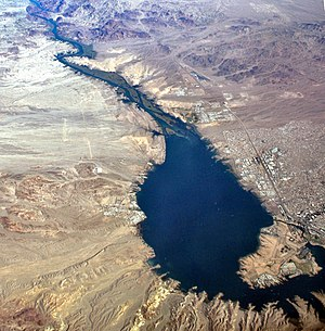 Lake Havasu - Lake Havasu with Lake Havasu City, Arizona on the east shore (right) and Havasu Lake, California on the western shore (left).