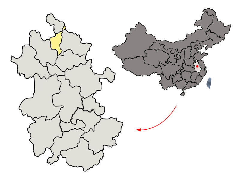 Location of Huaibei Prefecture within Anhui (China)