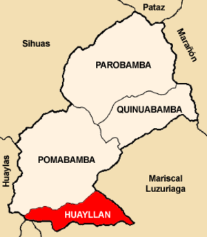Huayllán District - Image: Location of the district Huayllán in Pomabamba