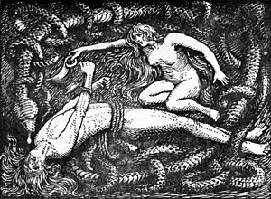 "Sigyn - ""Loki Bound (motive from the Gosforth Cross)"" (1908) by W. G. Collingwood."
