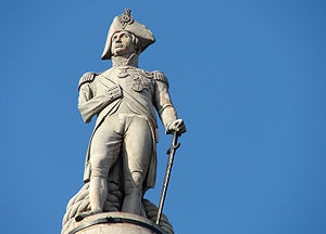 Monuments and memorials to Horatio Nelson, 1st Viscount Nelson - Lord Nelson atop Nelson's Column in Trafalgar Square.