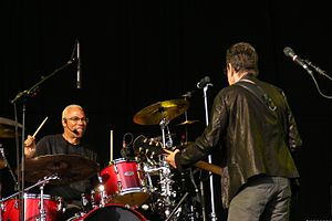 "Tony ""Thunder"" Smith (on drums) with Lou Reed"