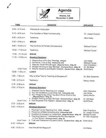 File Love Won Out Conference Agenda Nov 2006 Pdf Wikipedia