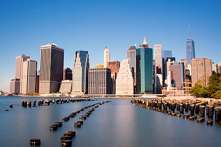 "New York City's Financial District in Lower Manhattan, including Wall Street. New York is ranked as one of the largest International Financial Centres (""IFC"") in the world. Lower Manhattan viewed from Brooklyn.jpg"