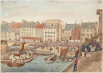 Team boat - Lower Market Place, McCallum's Wharf, Quebec, Quebec, July 4, 1829.
