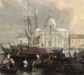 Luca Carlevarijs - Image: Luca Carlevarijs The Sea Custom House with San Giorgio Maggiore (detail) WGA4224