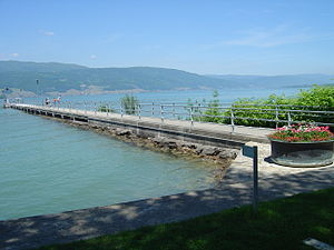 Lüscherz - Pier in Lüscherz. The history of the village since the Neolithic has been tied to the lake