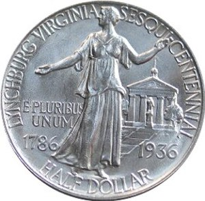 Lynchburg Sesquicentennial half dollar - Reverse