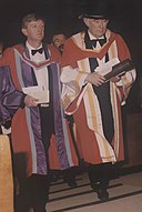 Mícheál Ó Súilleabháin (left) honorary conferring of Seamus Heaney (right) at the University of Limerick, 1996.jpg