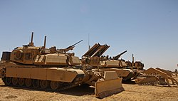 M1 assault breacher vehicles, assigned to the U.S. Marines with the 2nd Combat Engineer Battalion, wait prior to the beginning of Operation Black Sand in Shukvani, Helmand, Afghanistan, Aug 110804-M-VI276-010.jpg