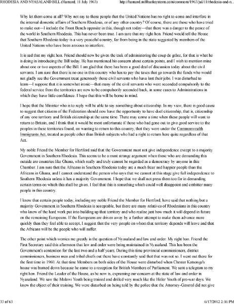 File:MALAYSIA BILL RHODESIA AND NYASALAND BILL (2) (Hansard, 11 Juli 1963).djvu