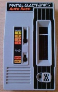 <i>Mattel Auto Race</i> first handheld game console, released in 1976 by Mattel Electronics