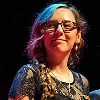 "Magdalena ""Serathe"" Grajcar at the Hugo Award Ceremony at Worldcon in Helsinki 2017 (cropped).jpg"