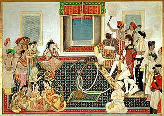 Gwalior State - Mahadji Sindhia entertaining two British officers with a nautch