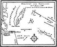 Tactical diagram of the battle by Alfred Thayer Mahan. The British ships are in black, the French ships in white. The positions of the fleets at various points in the battle are labelled as follows:*A: fleets sight each other*B: first tack*C: second tack*D: disengagement