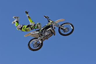Freestyle motocross - Freestyle rider at an exhibition in Spain